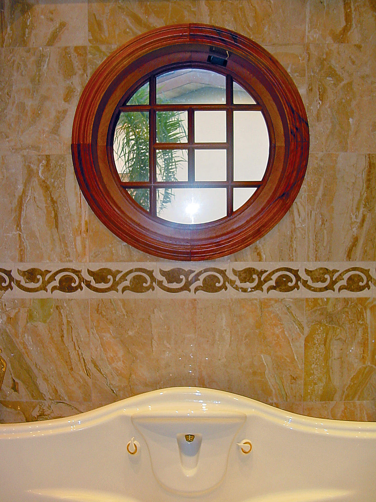 BAY DRIVE MAHOGANY ROUND WINDOW.