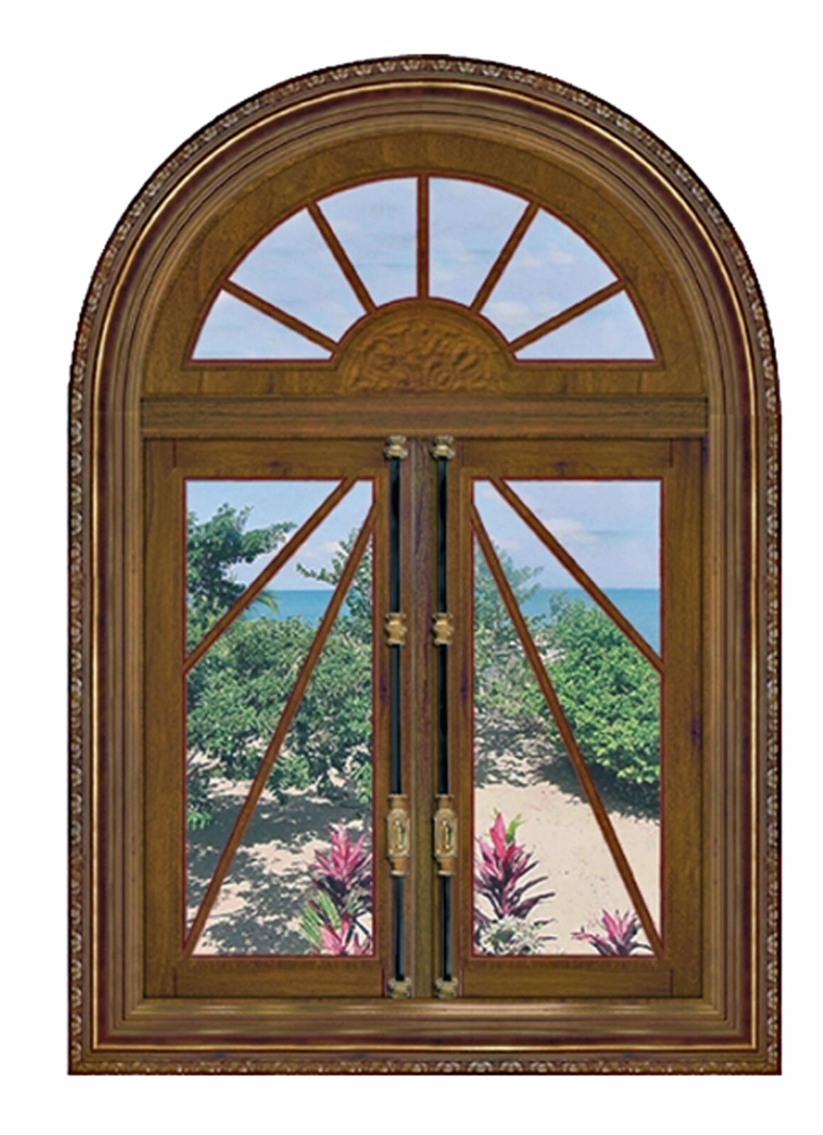 SUNBURST MAHOGANY WINDOW