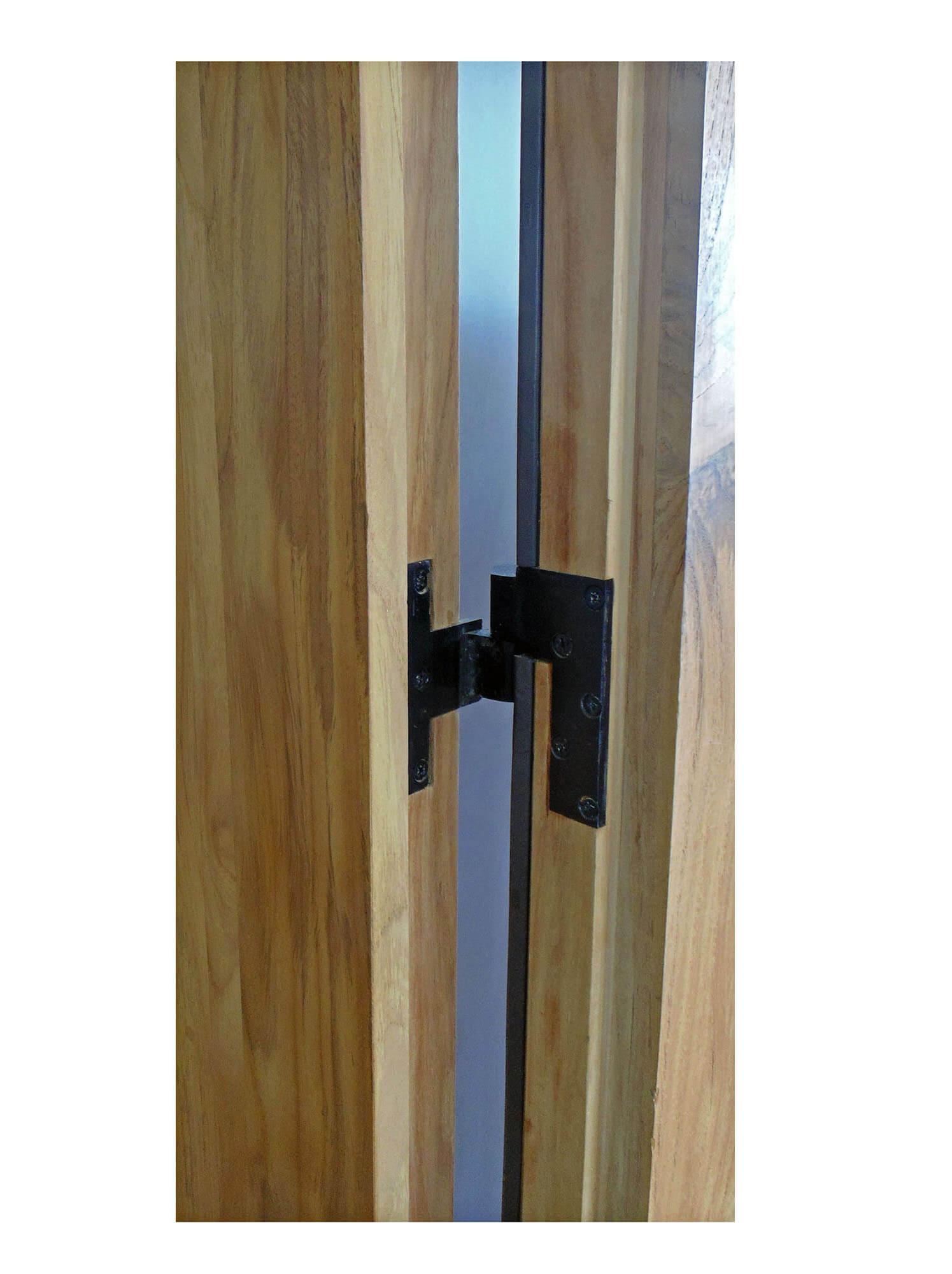 TEAK DOOR DETAIL OF HINGE.
