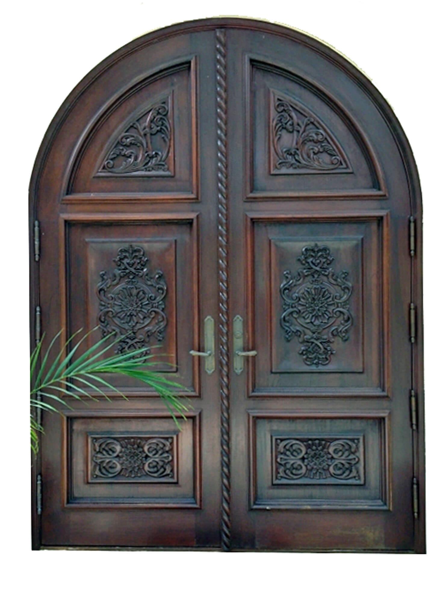 CHORRILLOS MAHOGANY CARVED FRONT DOOR.