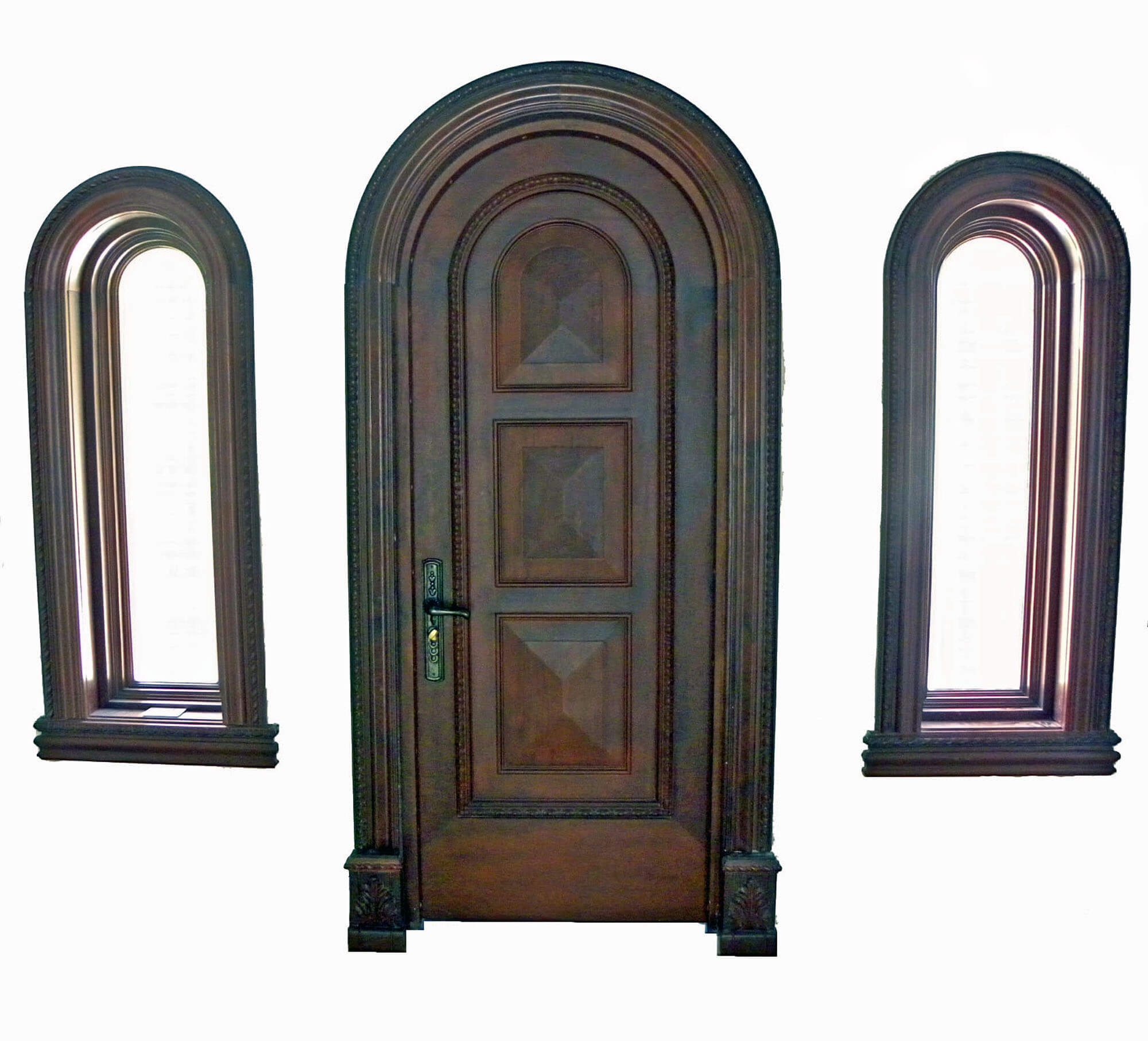 CORAL MAHOGANY ENTRY DOORS WITH SIDE WINDOWS