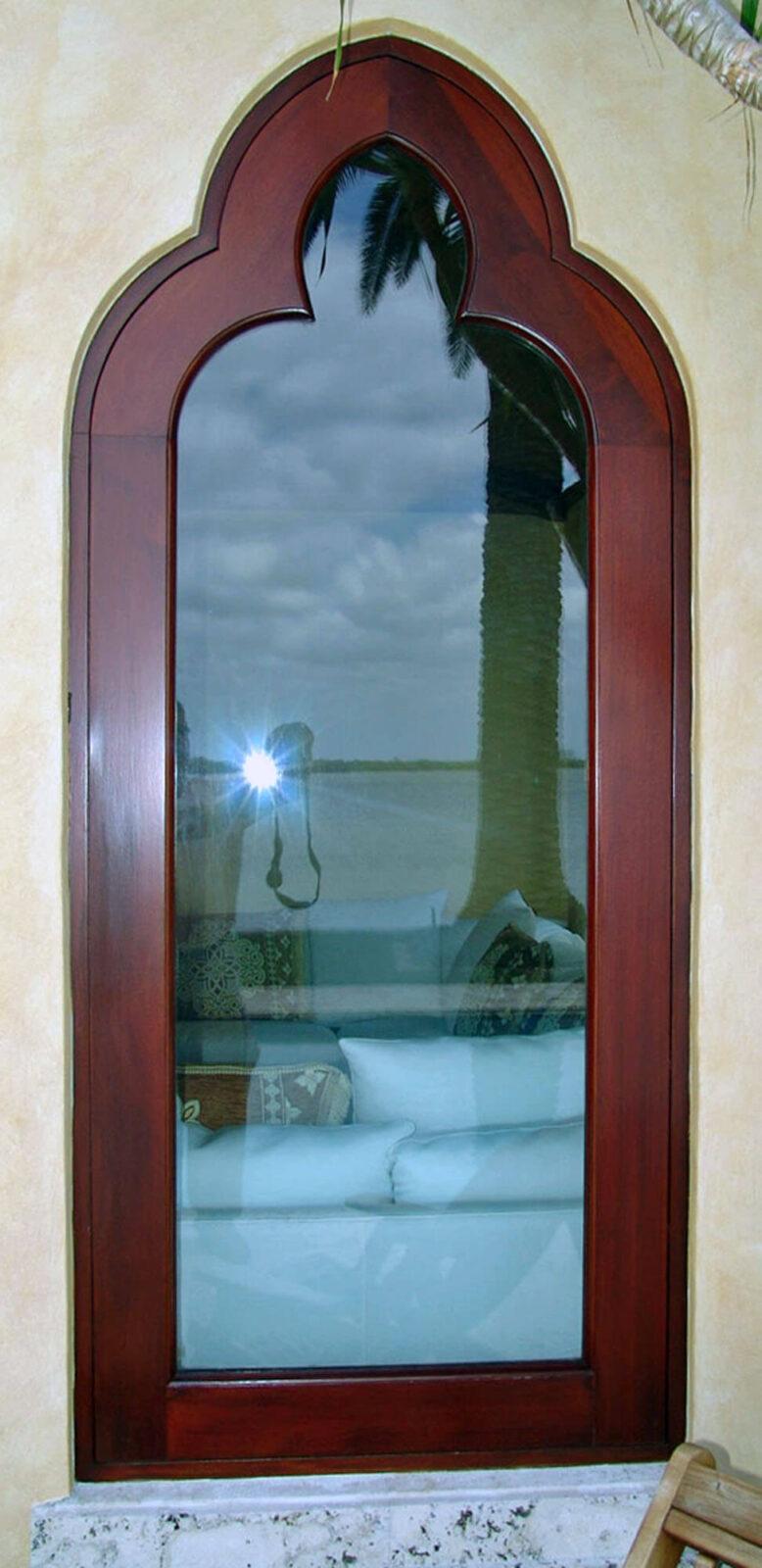 SUNSET ISLAND MAHOGANY ARABESQUE FRENCH DOOR.