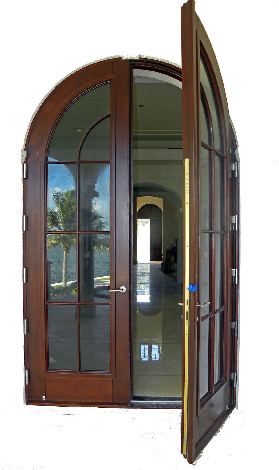 CORAL GABLES MAHOGANY FRENCH DOOR EXTERIOR VIEW.